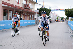 Lotta Lepistö makes her way from sign in at the Crescent Vargarda - a 152 km road race, starting and finishing in Vargarda on August 13, 2017, in Vastra Gotaland, Sweden. (Photo by Sean Robinson/Velofocus.com)