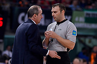 Iberostar Tenerife's coach Txus Vidorreta talking with the referee during Quarter Finals match of 2017 King's Cup at Fernando Buesa Arena in Vitoria, Spain. February 16, 2017. (ALTERPHOTOS/BorjaB.Hojas)
