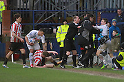 Scuffle in the final minutes during the Vanarama National League match between Tranmere Rovers and Cheltenham Town at Prenton Park, Birkenhead, England on 20 February 2016. Photo by Antony Thompson.