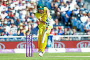 A defensive push from Australia ODI batsman Aaron Finch  during the 5th One Day International match between England and Australia at Old Trafford, Manchester, England on 24 June 2018. Picture by Simon Davies.