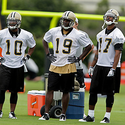 05 June 2009: Saints receivers Skyler Green (10), Devery Henderson (19) and Robert Meachem (17) participate in drills during the New Orleans Saints Minicamp held at the team's practice facility in Metairie, Louisiana.