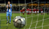 Photo: Paul Thomas.<br /> Chester City v Nottingham Forest. The Carling Cup. 14/08/2007.<br /> <br /> Simon Yeo of Chester can't believe he put his penalty over the bar during the penalty shoot-out which Forest won.