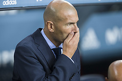 August 13, 2017 - Barcelona, Spain - Zinedine Zidane during the match between FC Barcelona - Real Madrid, for the first leg of the Spanish Supercup, held at Camp Nou Stadium on 13th August 2017 in Barcelona, Spain. (Credit: Urbanandsport / NurPhoto) (Credit Image: © Urbanandsport/NurPhoto via ZUMA Press)