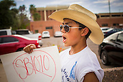 23 APRIL 2012 - PHOENIX, AZ:  FABIAN GARCIA, a high school student, chants while he marches to the Arizona State Capitol Monday. About 200 high school students from across the Phoenix metropolitan area rallied at the Arizona state capitol in Phoenix Monday to show their opposition to Arizona's tough anti-immigration law, SB 1070. April 23 is the 2nd anniversary of the law's signing. The US Supreme Court is taking up the law during a hearing Wednesday, April 25 in Washington DC.         PHOTO BY JACK KURTZ