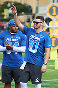 Jan 23, 2019; Kissimmee, FL, USA; Chicago Bears quarterback Mitchell Trubisky (10) acknowledges the crowd as his name is announced before the 2019 Pro Bowl Skills Challenge at ESPN Wide World of Sports Complex. (Steve Jacobson/Image of Sport)