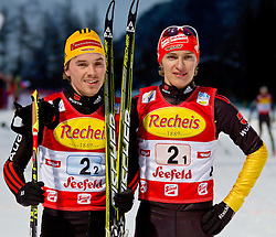 16.12.2011, Casino Arena, Seefeld, AUT, FIS Nordische Kombination, Team Sprint 2* 7.5 km, im Bild Manuel Faisst (GER) und Fabian Riessle (GER) // Manuel Faisst of Germany und Fabian Riessle (GER) // Fabian Riessle of Germany  during Team Sprint 2* 7.5 km the team competition at FIS Nordic Combined World Cup in Sefeld, Austria on 20111211. EXPA Pictures © 2011, PhotoCredit: EXPA/ P.Rinderer