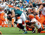 Philadelphia Eagles Ryan Mathews (24) is tackled by Cleveland Browns Jordan Poyer (33) in the first quarter, September 11, 2016 at Lincoln Financial Field in Philadelphia, Pennsylvania.  (Photo by William Thomas Cain)