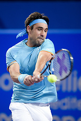 February 6, 2019 - Montpellier, France - MARCOS BAGHDATIS of Cyprus in action against Ruben Bemelmans of Belgium during their day 4 match at the Open Sud de France in Montpellier, France. Baghdatis won 6:2, 6:4. (Credit Image: © Panoramic via ZUMA Press)