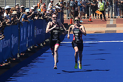 Lucy Hall of Great Britain and Jessica Learmonth of Great Britain sprint for the finish line during the Elite Women race of the Discovery Triathlon World Cup Cape Town leg held at Green Point in Cape Town, South Africa on the 11th February 2017.<br /> <br /> Photo by Shaun Roy/RealTime Images