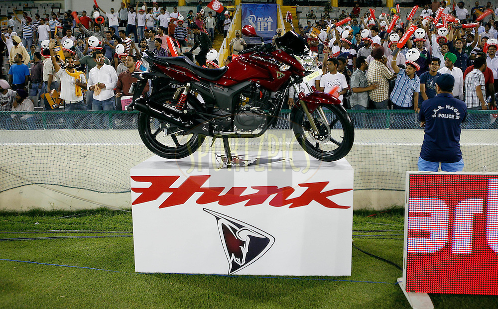 Hero Honda bike on display during match 23 of the Indian Premier League ( IPL ) Season 4 between the Kings XI Punjab and the Rajasthan Royal held at the PCA stadium in Mohali, Chandigarh, India on the 21st April 2011..Photo by Money Sharma/BCCI/SPORTZPICS.