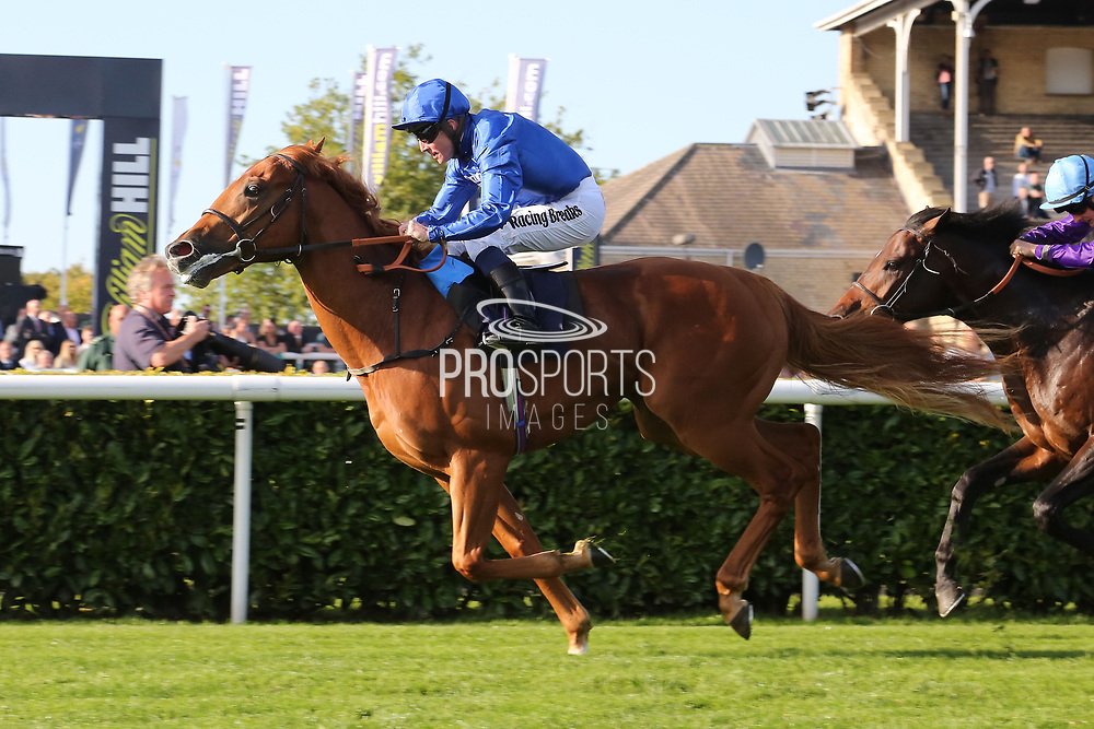 RAAEB (3) ridden by Jim Crowley and trained by Saeed bin Suroor winning The Gary Reid Memorial Irish EBF Maiden Stakes over 7f (£15,000)   during the third day of the St Leger Festival at Doncaster Racecourse, Doncaster, United Kingdom on 13 September 2019.