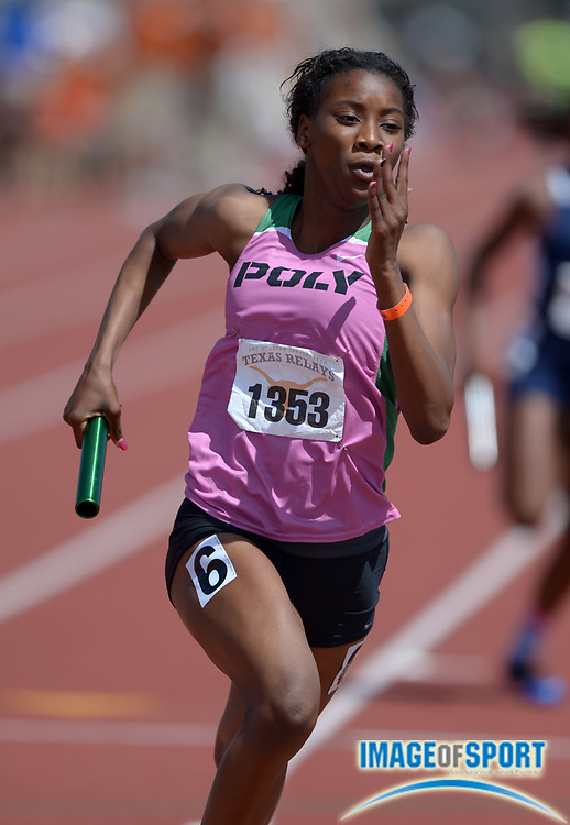 Mar 29, 2014; Austin, TX, USA; Kaelin Roberts runs a leg on the Long Beach Poly girls 4 x 200m relay that placed second in 1:36.75 in the 87th Clyde Littlefield Texas Relays at Mike A. Myers Stadium.
