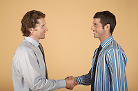 Businessmen shaking hands on plain background