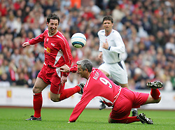 LIVERPOOL, ENGLAND - SUNDAY MARCH 27th 2005: Liverpool Legends' Robbie Fowler and Ian Rush in action together against Celebrity XI during the Tsunami Soccer Aid match at Anfield. (Pic by David Rawcliffe/Propaganda)
