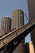 Open drawbridge and Marina Towers, Chicago, IL