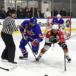 BUFFALO, NY - SEP 20,  2017: Ontario Junior Hockey League Governors Showcase game between the Toronto Jr. Canadiens and Wellington Dukes, Jack McBain #19 of the Toronto Jr. Canadiens battles for the puck with Colin Doyle #17 of the Wellington Dukes during the second period.<br /> (Photo by Andy Corneau / OJHL Images)