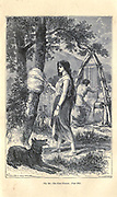 First weaver Bronze Age according to the French illustrator Emile Bayard (1837-1891), illustration Artwork published in Primitive Man by Louis Figuier (1819-1894), Published in London by Chapman and Hall 193 Piccadilly in 1870