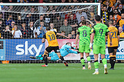 Cambridge United's Marc Richards(18) <br /> takes a penalty and saved by Forest Green Rovers goalkeeper Lewis Thomas(24) during the EFL Sky Bet League 2 match between Cambridge United and Forest Green Rovers at the Cambs Glass Stadium, Cambridge, England on 7 September 2019.