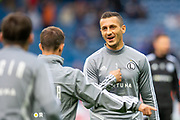 Tomasz Jodlowiec (#3) of Legia Warsaw jokes with team mates during the warms up before the Europa League Play Off leg 2 of 2 match between Rangers FC and Legia Warsaw at Ibrox Stadium, Glasgow, Scotland on 29 August 2019.