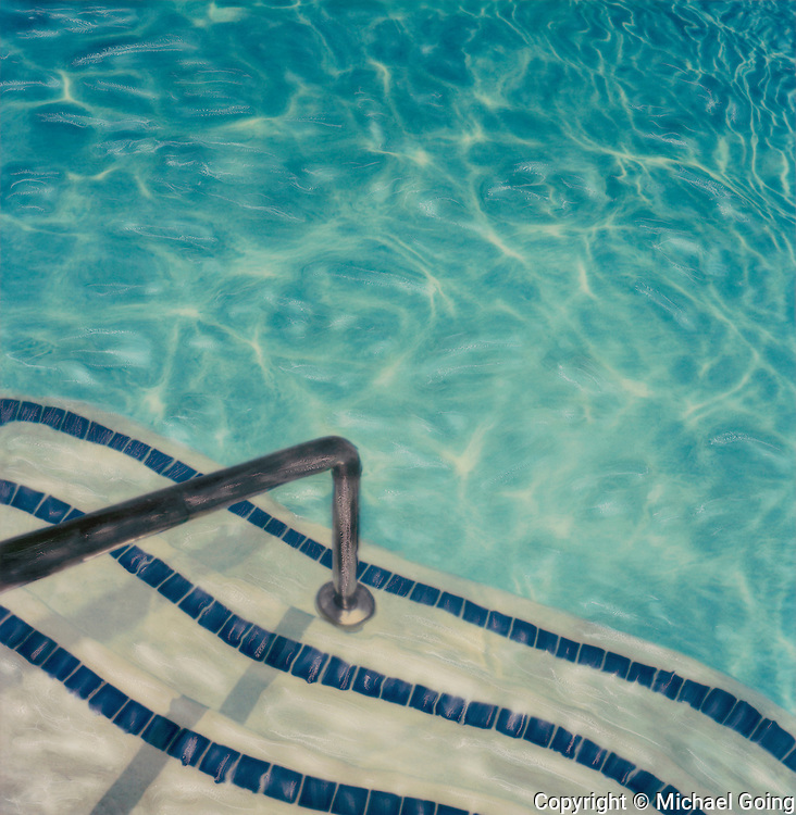 altered Polaroid of pool steps and pool
