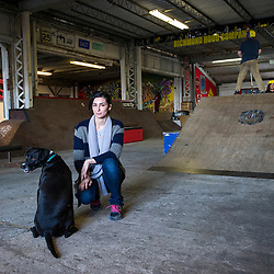 Staten Island, NY (Saturday, March 15, 2014): Angelica Popolano, one of the owners of 5050 Skatepark, New York's only full-size indoor park for skateboarders, BMXers and scooterers and other mildly disaffected youth.