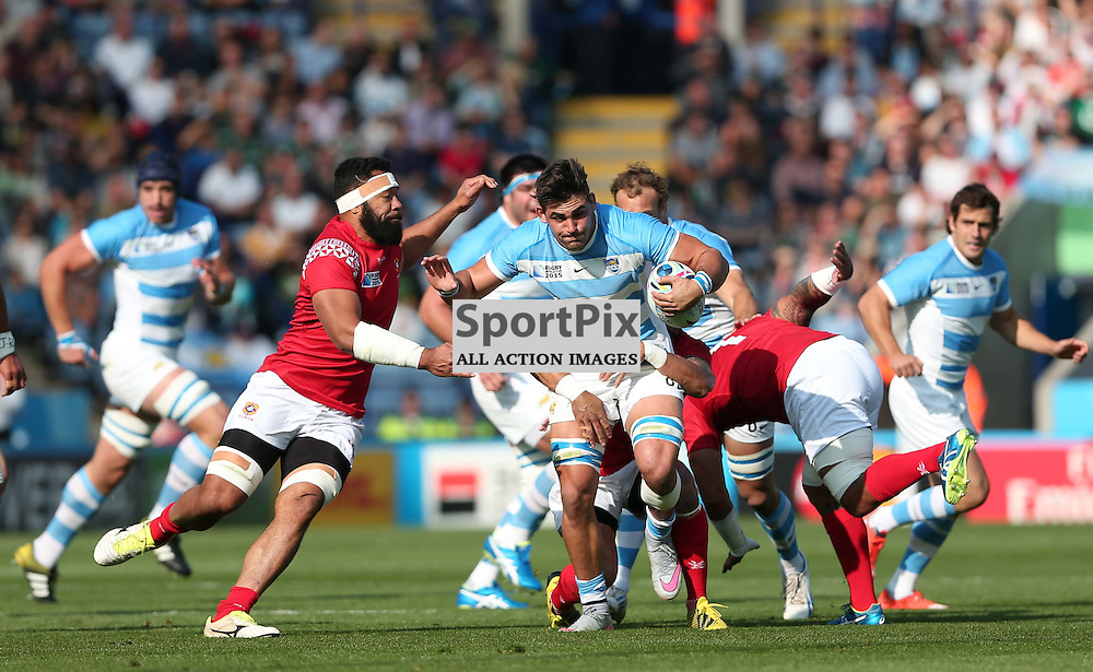 Pablo Matera of Argentina makes a break during the Rugby World Cup Argentina v Tonga, Sunday 04 October 2015, Leicester City Stadium, Leicester, England Stadium (Photo by Mike Poole - SportPix)