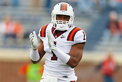 Nov 26, 2011; Charlottesville VA, USA;  Virginia Tech Hokies safety Antone Exum (1) warms up before the game against the Virginia Cavaliers at Scott Stadium.  Virginia Tech defeated Virginia 38-0. Mandatory Credit: Jason O. Watson-US PRESSWIRE