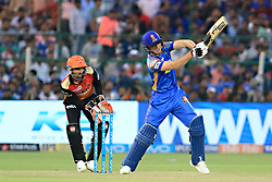 April 29, 2018 - Jaipur, Rajasthan, India - Rajasthan Royals batsman Jos Butler plays a shot during the IPL T20 match against Sunrisers  Hyderabad at Sawai Mansingh Stadium in Jaipur on 29th April,2018. (Credit Image: © Vishal Bhatnagar/NurPhoto via ZUMA Press)