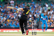 SYDNEY - NOVEMBER 25: Australian player Aaron Finch (c) misses the ball at the International Gillette T20 cricket match between Australia and India at The Sydney Cricket Ground in NSW on November 25, 2018. (Photo by Speed Media/Icon Sportswire)