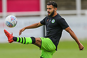 Forest Green Rovers Dominic Bernard(3) warming up during the Pre-Season Friendly match between Bath City and Forest Green Rovers at Twerton Park, Bath, United Kingdom on 27 July 2019.