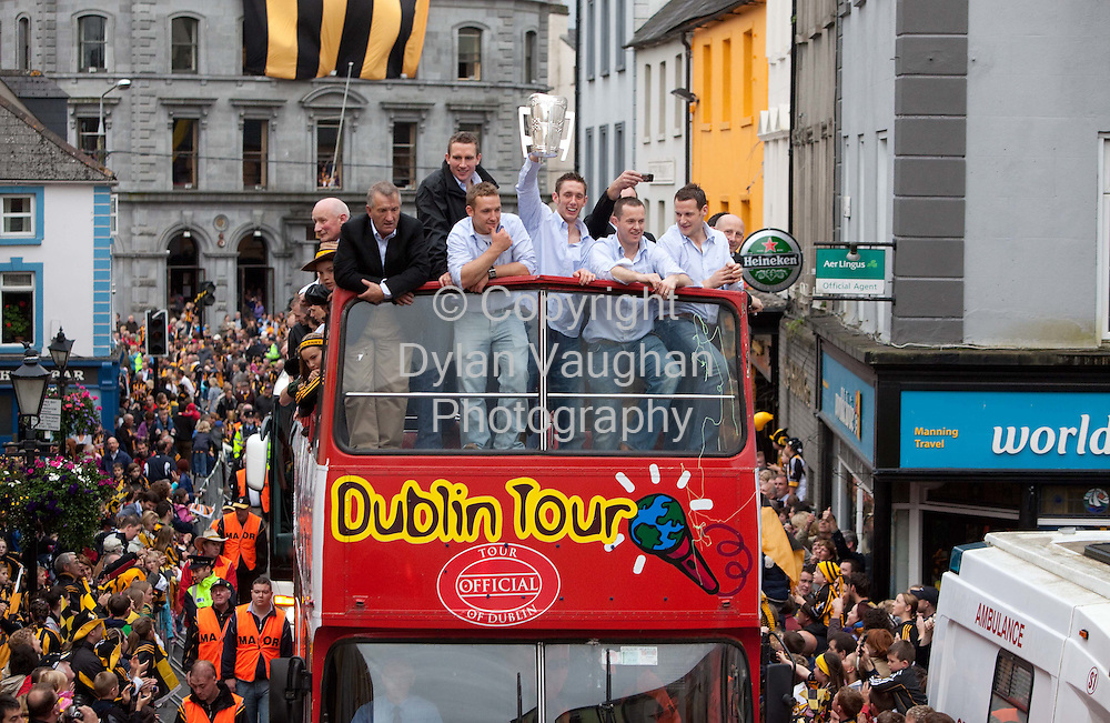 6/9/2009.Michael Fennelly with Eddie Brennan and  Richie Hogan left and Michael Kavanagh and Jackie Tyrell right pictured at the Kilkenny All Ireland homecoming..Picture Dylan Vaughan.