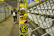 Stickers on fan fencing inside the Signal Iduna Park stadium ahead of the Champions League round of 16, leg 2 of 2 match between Borussia Dortmund and Tottenham Hotspur at Signal Iduna Park, Dortmund, Germany on 5 March 2019.
