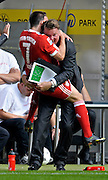 Franck Ribery celebrates with Bayern Munich trainer Louis van Gaal during the Bundesliga match between  Borussia Dortmund and FC Bayern Munich, 12th September 2009.