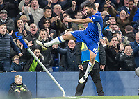 Football - 2016 / 2017 Premier League - Chelsea vs. Stoke City <br /> <br /> Diego Costa of Chelsea celebrates by kicking the corner flag after scoring at Stamford Bridge.<br /> <br /> COLORSPORT/DANIEL BEARHAM