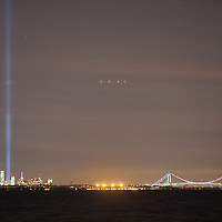 The 9-11 memorial lights seen from the New Jersey bayshore towns of Port Monmouth, Atlantic Highlands and Union Beach.