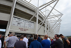 Swansea City Fans at the the wall of fame. - Photo mandatory by-line: Alex James/JMP - Mobile: 07966 386802 20/09/2014 - SPORT - FOOTBALL - Swansea - Liberty Stadium - Swansea City v Southampton  - Barclays Premier League