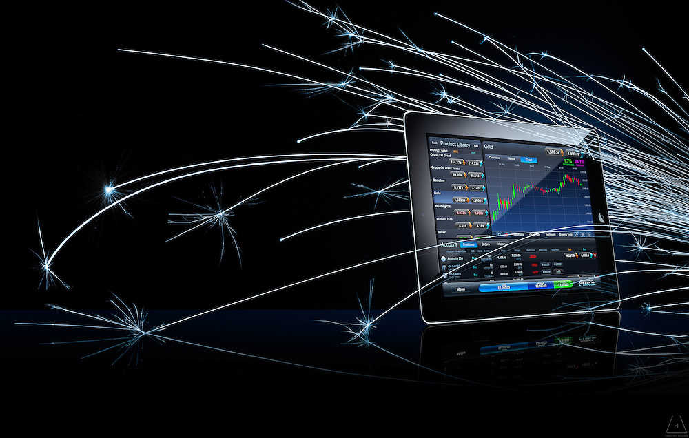Apple iPad displaying day trader app with background sparks