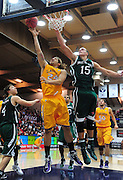 November 27, 2011; Moraga, CA, USA; San Francisco State Gators forward David Love (24) drives to the basket against Saint Mary's Gaels forward Beau Levesque (15) during the first half of the Shamrock Office Solutions Classic at McKeon Pavilion.