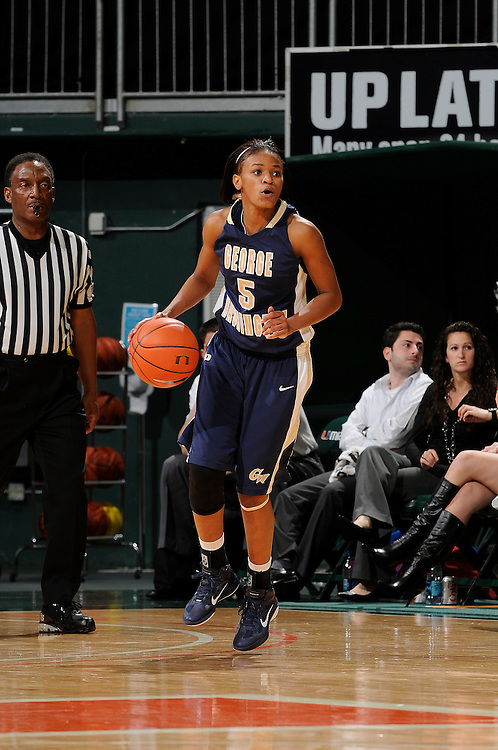 December 28, 2010: Tiana Myers of the George Washington Colonials in action during the NCAA basketball game between GWU and the Miami Hurricanes. The 'Canes defeated the Colonials 83-62.
