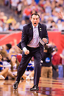 06 APR 2015:  Coach Mike Krzyzewski of Duke University yells to his players against University of Wisconsin during the championship game at the 2015 NCAA Men's DI Basketball Final Four in Indianapolis, IN. Duke defeated Wisconsin 68-63 to win the national title. Brett Wilhelm/NCAA Photos
