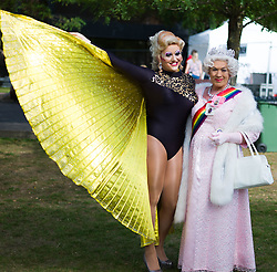 © Licensed to London News Pictures. <br /> 27/09/2014. <br /> <br /> Middlesbrough, United Kingdom<br /> <br /> Singers and entertainers Daisy Diamond (L) and the Queen pose for the camera at the start of a parade in the centre of Middlesbrough as part of a Pride event that brings together many members of the Lesbian, Gay, Bisexual and Transgender community from the area.<br /> <br /> Photo credit : Ian Forsyth/LNP