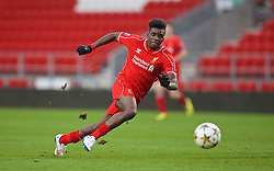 LIVERPOOL, ENGLAND - Tuesday, December 9, 2014: Liverpool's Oviemuno Ejaria Sheyi Ojo in action against FC Basel during the UEFA Youth League Group B match at Langtree Park. (Pic by David Rawcliffe/Propaganda)