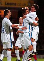 Photo: Ed Godden.<br /> Watford v Inter Milan. Pre Season Friendly. 08/08/2006.<br /> Inter Milan players, David Pizarro (far right) leaps on goalscorer, Marco Andreolli after scoring the equaliser.