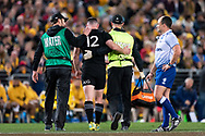 SYDNEY, NSW - AUGUST 18: New Zealand player Ryan Crotty (12) taken off after a nasty head clash at the Bledisloe Cup rugby test match between Australia and New Zealand at ANZ Stadium in Sydney on August 18, 2018. (Photo by Speed Media/Icon Sportswire)