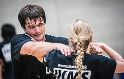 A P1 students choke hold action image, as Franklyn Hartkamp takes the Institute Of Krav Maga Scotland grading today at Stirling.<br /> &copy;Michael Schofield.