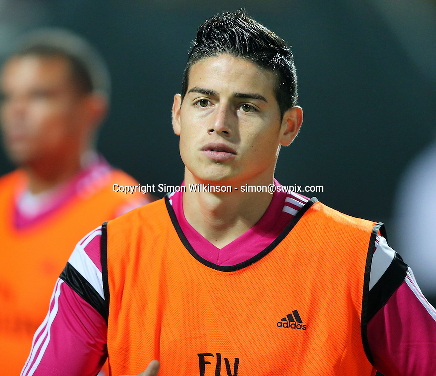 Dubai Football Challenge 2014, Sevens Stadium Dubai, 30/12/14 - Real Madrid's James Rodriguez warming up just before half time