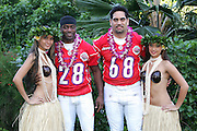 KO OLINA - FEBRUARY 10:  New York Jets 2005 NFL Pro Bowl AFC All-Stars (left to right: Curtis Martin #28 and Kevin Mawae #68) pose with Hawaiian Hula girls for their 2005 NFL Pro Bowl team photo on February 10, 2005 in Ko Olina, Hawaii. ©Paul Anthony Spinelli