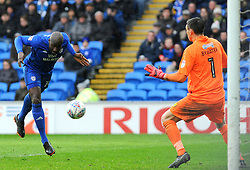 Souleymane Bamba of Cardiff City heads the ball at goal  - Mandatory by-line: Nizaam Jones/JMP- 30/03/2018 -  FOOTBALL -  Cardiff City Stadium- Cardiff, Wales -  Cardiff City v Burton Albion - Sky Bet Championship