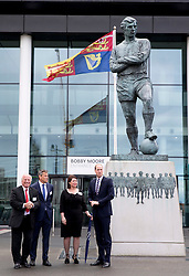 LONDON - UK - 6th April 2016: The Duke of Cambridge, Prince William, President of the English F.A. (Football Association) visits Wembley Stadium, N.London to mark 10 years as President of the F.A. <br /> <br /> On arrival the Prince viewed the Bobby Moore statue. with FA Greg Dyke, Julie Harrington and Martin Glenn<br /> Photograph by Ian Jones.