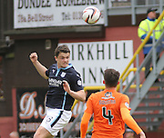 Dundee's Stephen McGinn rises above Dundee United's John Souttar - Dundee United v Dundee at Tannadice Park in the SPFL Premiership<br /> <br />  - © David Young - www.davidyoungphoto.co.uk - email: davidyoungphoto@gmail.com